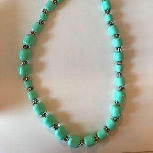 JCrew beaded, mint, long necklace